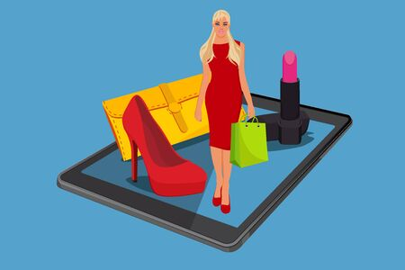 online shopping concept in flat style, vector illustration Illustration