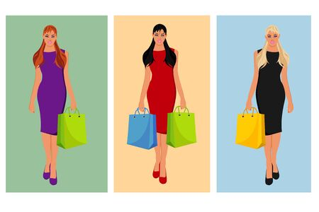 shopping bag vector: Beautiful woman with shopping bag, vector illustration Illustration