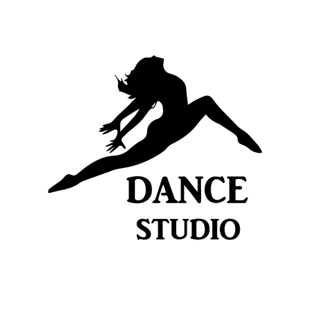 Stylish and young modern style dancer is jumping, dance studio concept