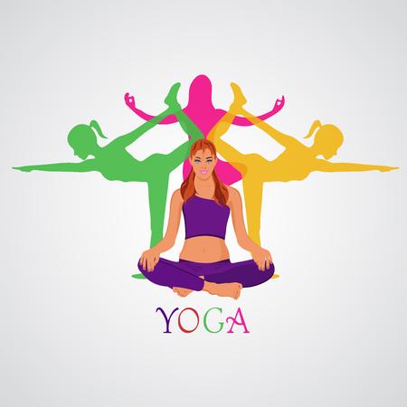 yoga thema in vlakke stijl, vector illustratie