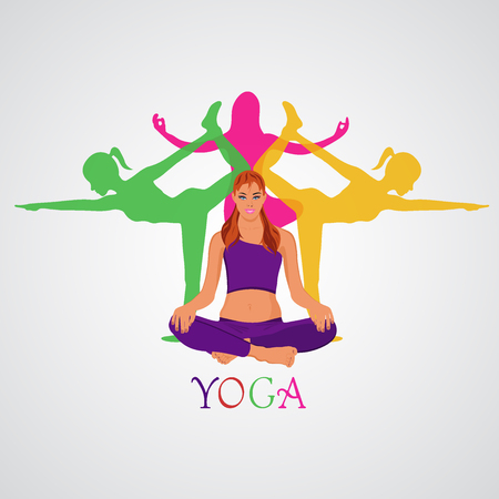 flexible woman: yoga theme in flat style, vector illustration