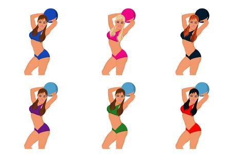 fitness girl, ball, vector illustration