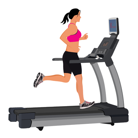 woman running on treadmill, vector