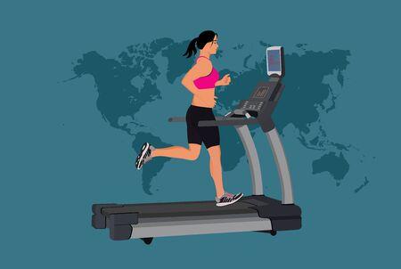 woman running on treadmill, vector