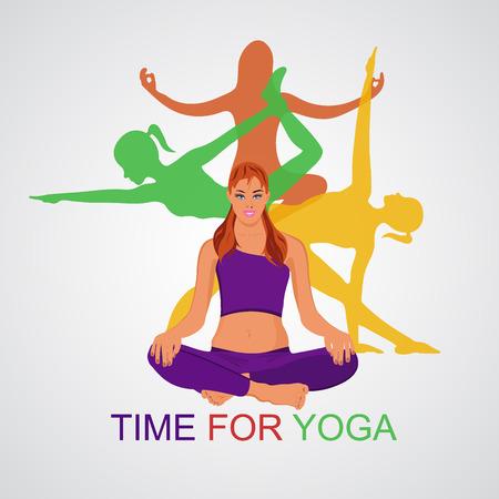 yoga theme in flat style, vector illustration