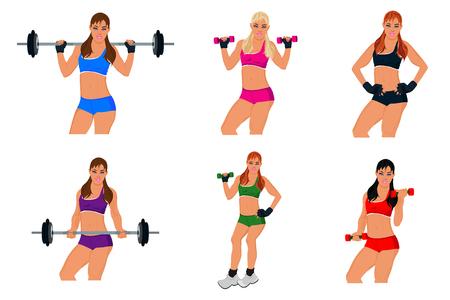 woman exercising: set, fitness woman, exercising, sport, vector Illustration