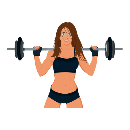 sporty: smiling sporty woman exercising with barbell, vector