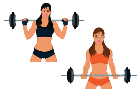 sporty woman exercising with barbell, set, vector