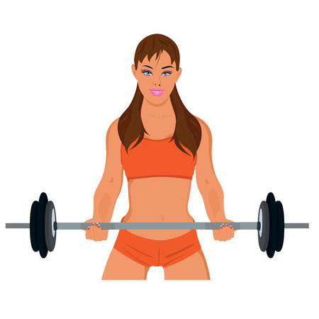sporty: sporty woman exercising with barbell