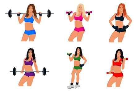 woman exercising: fitness woman, exercising, sport, vector, set