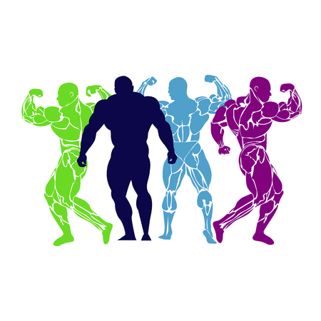 Bodybuilding, power lifting, icon, vector, flat