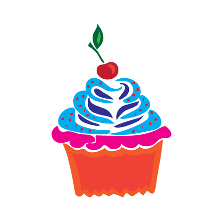 cupcake illustration: Cupcake in doodle style, flat vector illustration Illustration