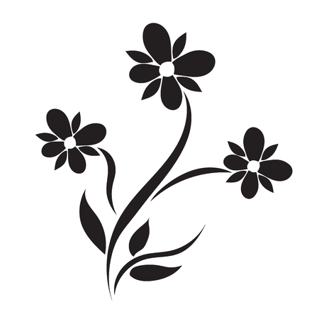 flower, black, icon, vector illustration 向量圖像