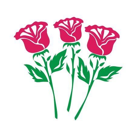 red roses, icon, flat, vector illustration Çizim
