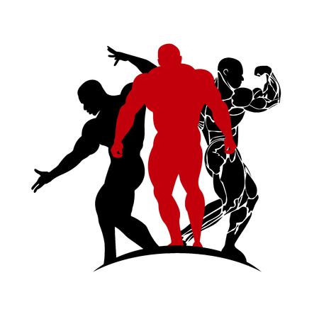 bodybuilding emblem, vector illustration