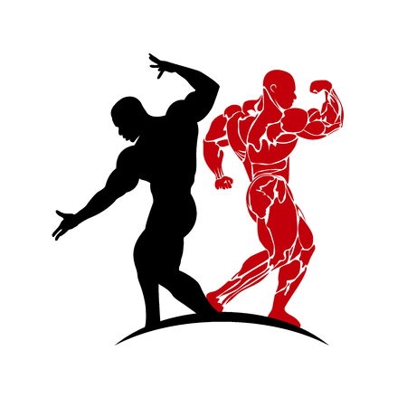 man working out: bodybuilder posing, icon, vector illustration