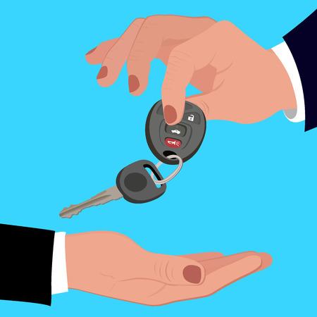 remote lock: Hand holding car key, vector illustration Illustration