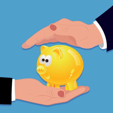 Man holding piggy bank, vector illustration
