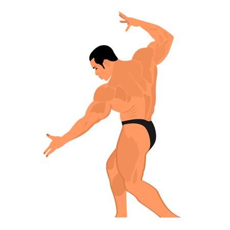 strong: strong bodybuilder posing, vector illustration