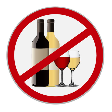 alcohol abuse: Alcohol is forbidden sign on white background Illustration