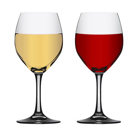 White and red wine in glass