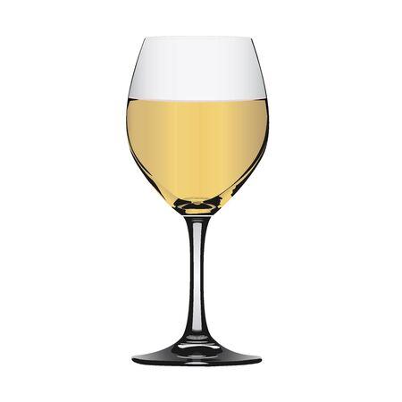 white wine: White wine in glass Illustration