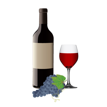 red wine pouring: wine glass with red wine, bottle of wine and grapes
