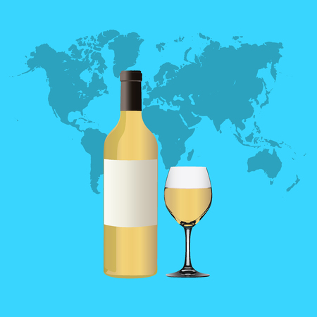 White Wine bottle and glass on white background