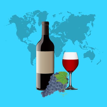 赤ワイン、ワインとブドウのボトルとワイングラス 写真素材 - 53776128