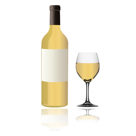 cabernet: White Wine bottle and glass on white background