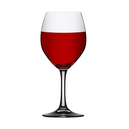 glass half full: Red wine in glass isolated on white, vector illustration