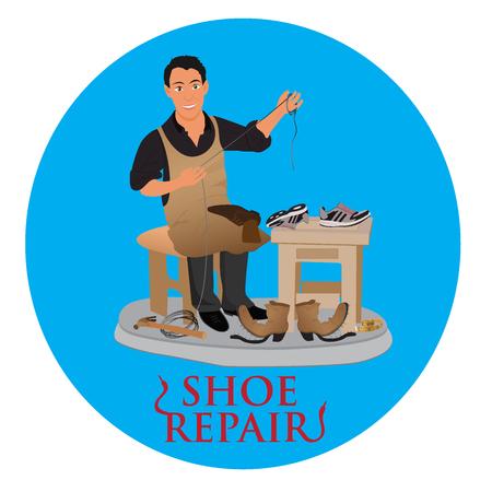 shoemaker cobbler repair shoe, vector illustration Illustration