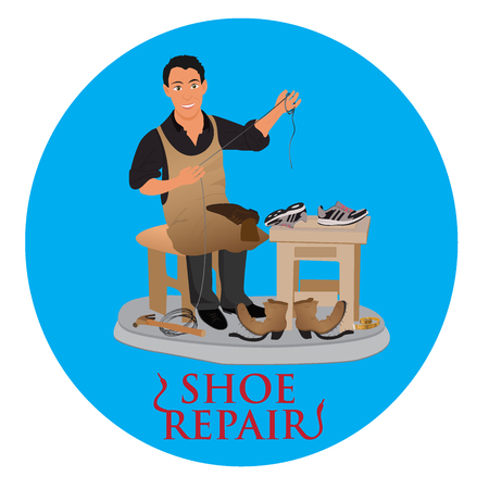 shoe repair: shoemaker cobbler repair shoe, vector illustration Illustration