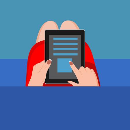 tablet vector: Hands holding digital tablet . Vector illustration