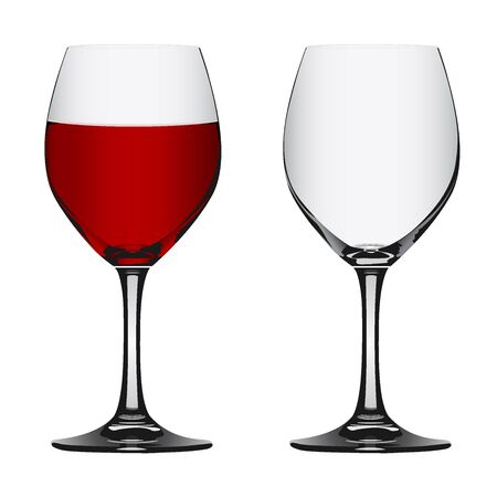 full and empty red wine glass, vector illustration Illustration