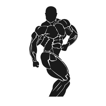 Bodybuilding and powerlifting concept, icon, banner, template, badge Фото со стока - 53776258