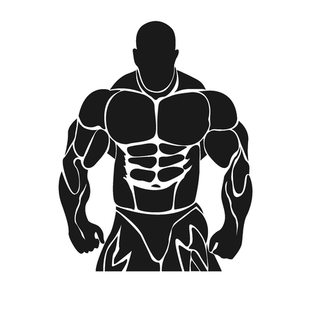 Bodybuilding and powerlifting concept, icon, banner, template, badge