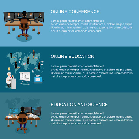 computer education: set of science and online education concepts, templates, vector illustration
