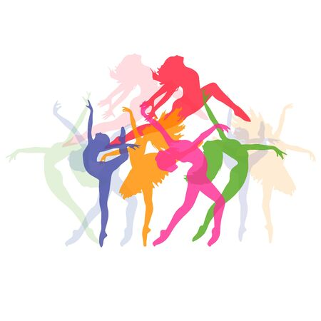 set of icons of dancing girls, fitness, vector illustration 向量圖像