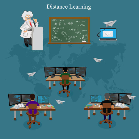 distance: distance learning, vector illustration Illustration