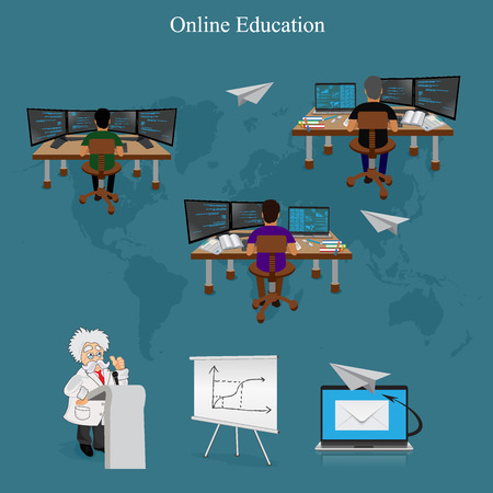 international students: Distance online learning, vector illustration