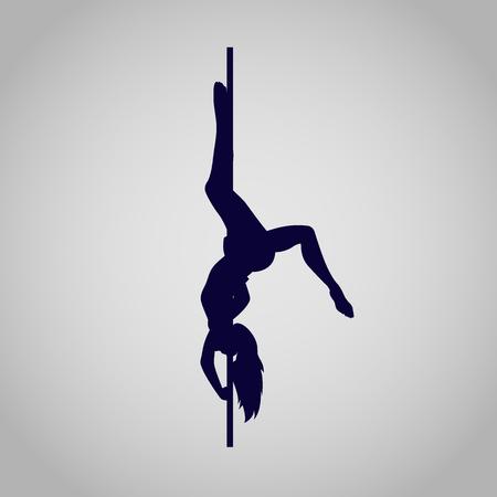 Pôle femme danseur silhouette, icône, illustration vectorielle Banque d'images - 53776297