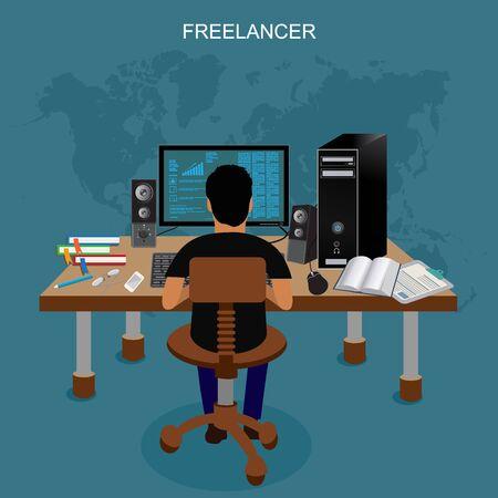 freelancer: freelancer, vector illustration
