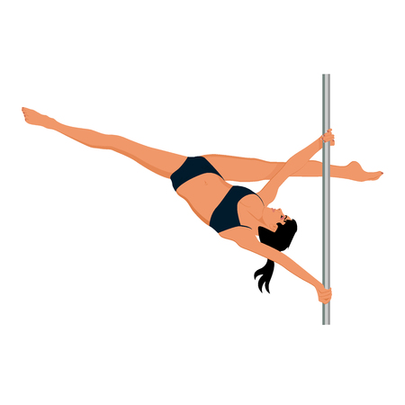 perfect body: Young pole dance woman, vector illustration