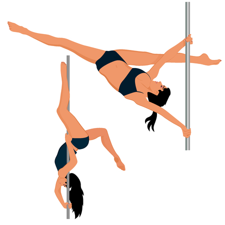 Young pole dance woman, vector illustration