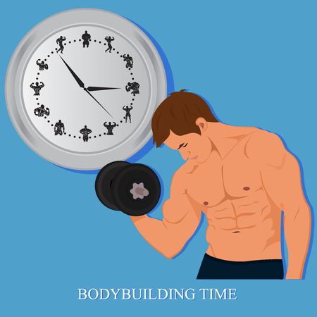 bodybuilding, fitness concept, clock, illustration