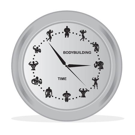 clock with bodybuilding icons, time for fitness concept, illustration Reklamní fotografie - 53862969