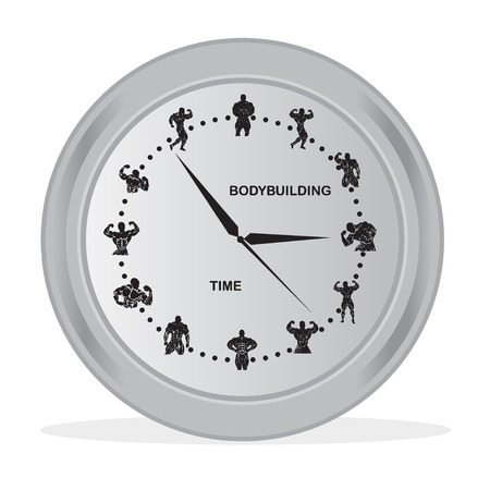 clock with bodybuilding icons, time for fitness concept, illustration