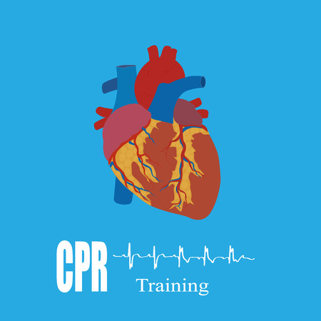 chest compression: CPR training, illustration