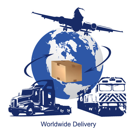 worldwide delivery concept, illustration Illustration